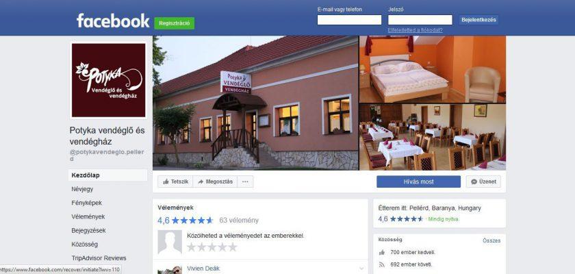 Facebook profil - Potyka vendéglő és vendégház.