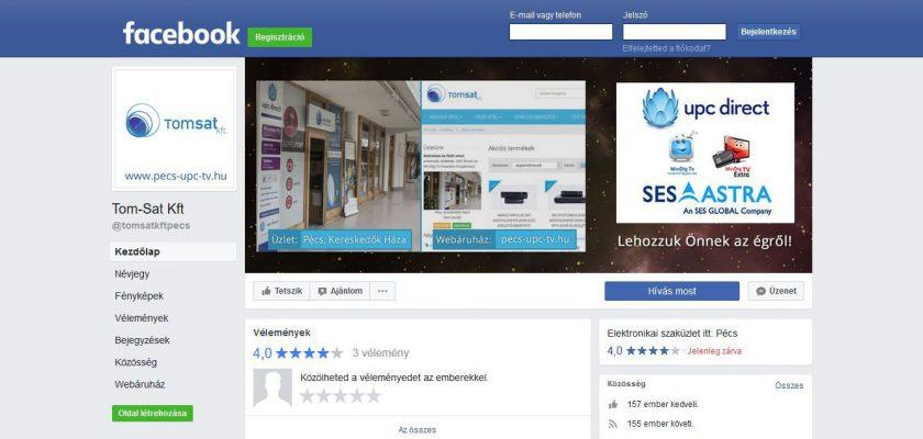 A webáruház Facebook oldala.